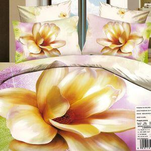 Pościel 3D - Złoty kwiat magnolii - 160x200 cm - 3 cz - 101-10