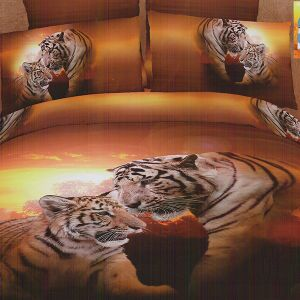 Pościel 3D - Tygrysia Para - 160x200 cm - 3 cz - COL-448