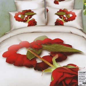 Pościel 3D - Różane serce  - 220x200cm - 3 cz - COL-401