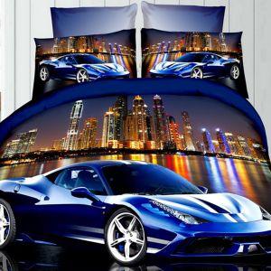 Pościel 3D - Niebieski samochód - 160x200 cm - 3 cz - 105-01
