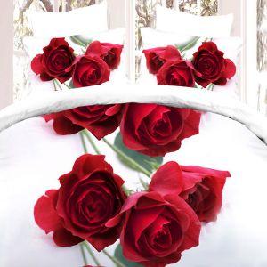Pościel 3D - Czerone róże - 220x200 cm - 4 cz - 728-03