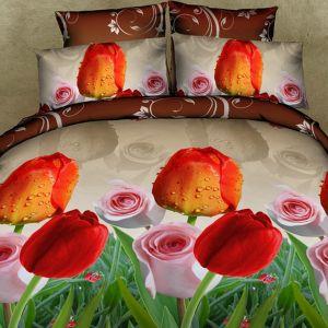 Pościel 3D - Tulipany i róże - 160x200 cm - 3 cz - FSP-735-06