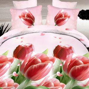 Pościel 3D - Delikatne tulipany - 220x200 cm - 4 cz - 735-03