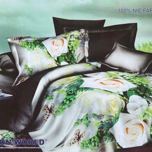 Pościel 3D - Białe Róże - 220x200 cm - 4 cz - 213-08