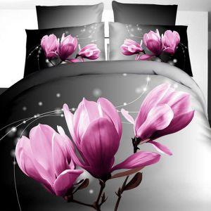Pościel 3D - Fioletowe Magnolie - 160x200 cm - 3 cz - 236-07