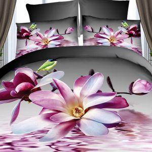 Pościel 3D - Rozwinięte Magnolie - 220x200 cm - 4 cz - 236-08