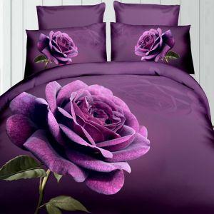 Pościel 3D - Fioletowa Róża - 160x200 cm - 3 cz - 360-03