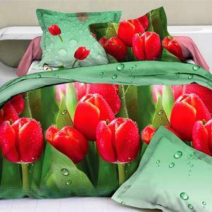 Pościel 3D - Czerwone Tulipany - 220x200 cm - 3 cz - 1701-02