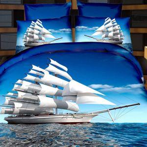 Pościel 3D - Okręt na morzu - 160x200 cm - 4 cz - 237-09