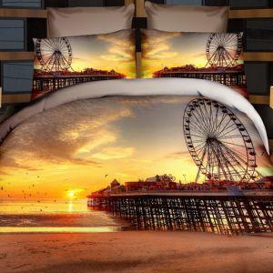 Pościel 3D - Zachód w miasteczku - 160x200 cm - 3 cz - 237-10
