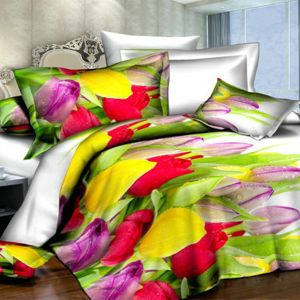 Pościel 3D - Kolorowe Tulipany - 220x200 cm - 4 cz - 373-01