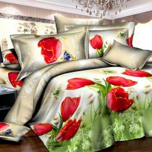 Pościel 3D - Czerwone Tulipany - 220x200 cm - 4 cz - 373-09
