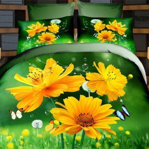 Pościel 3D - Żółte Kwiaty - 220x200 cm - 4 cz - 373-10