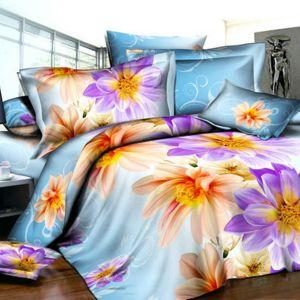 Pościel 3D - Kolorowe Kwiaty - 160x200 cm - 3 cz - 374-01