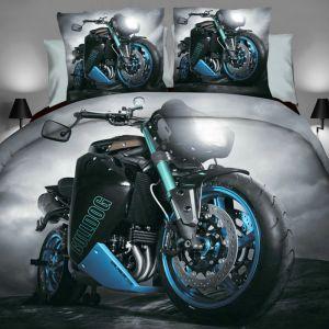 Pościel 3D - Czarno-Niebieski Motocykl - 160x200 cm - 3 cz - 284-02