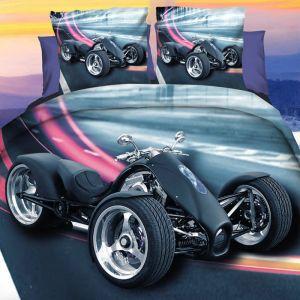 Pościel 3D - Motocykl Trójkołowy - 160x200 cm - 3 cz - 284-03
