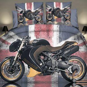 Pościel 3D - Czarno-Złoty Motocykl - 160x200 cm - 3 cz - 284-04