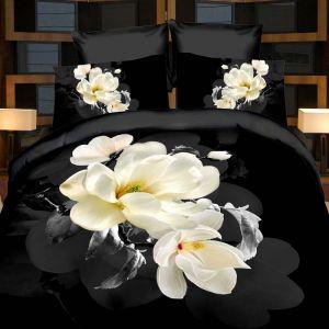 Pościel 3D - Biała Magnolia - 160x200 cm - 3 cz - 283-04