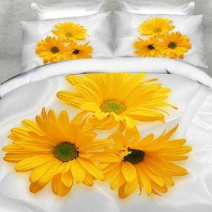 Pościel 3D - Żółte Kwiaty - 160x200 cm - 3 cz - 283-05