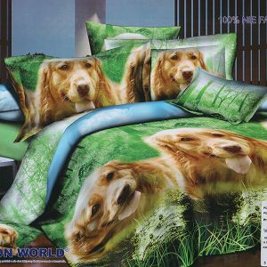 Pościel 3D - Pieski Golden Retriever - 160x200 cm - 4 cz - 280-01