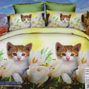 Pościel 3D - Kotki W Kwiatach - 160x200 cm - 4 cz - 280-04