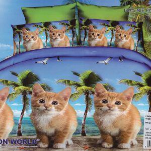 Pościel 3D - Kotki Pod Palmami - 160x200 cm - 4 cz - 280-07