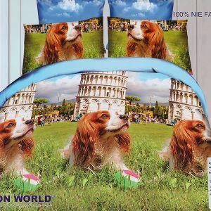 Pościel 3D - Piesek W Pizie - 160x200 cm - 4 cz - 280-09
