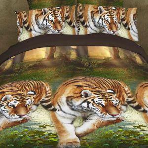 Pościel 3D - Przyczajone Tygrysy - 160x200 cm - 3 cz - 901-05