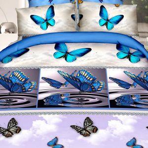 Pościel 3D - Niebieskie Motyle - 160x200 cm - 4 cz - 902-05