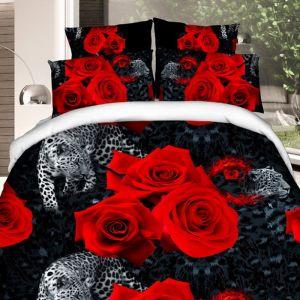 Pościel 3D - Czerwone Róże - 160x200 cm - 3 cz - 1710-02