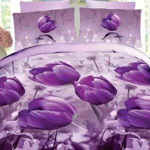 Pościel 3D - Fioletowe Tulipany - 160x200 cm - 3 cz - 1710-05