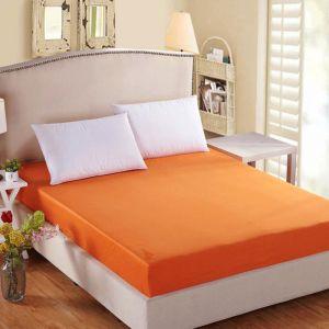 Prześcieradło bawełniane z gumką 160x200 pomarańczowy - RG-160-15