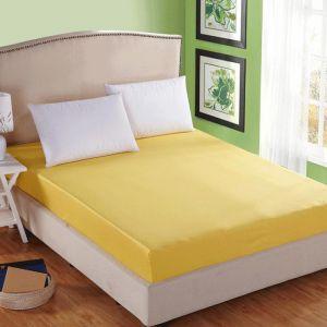 Prześcieradło bawełniane z gumką 160x200 żółty - RG-160-22