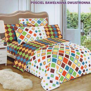 Pościel dwustronna - Kolorowe kwadraty - 160x200 cm - 3cz - 142-01