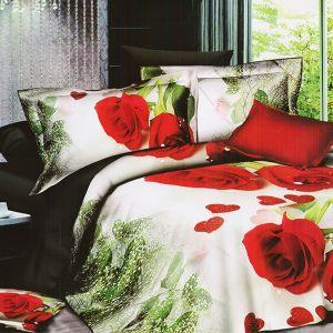 Pościel 3D - Czerwone Róże - 160x200 cm - 3 cz - 399-12