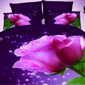 Pościel 3D - Fioletowa Róża - 220x200 cm - 3 cz - 2901-07