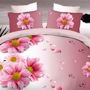Pościel 3D - Różowe Kwiatki - 160x200 cm - 3 cz - 1711-01