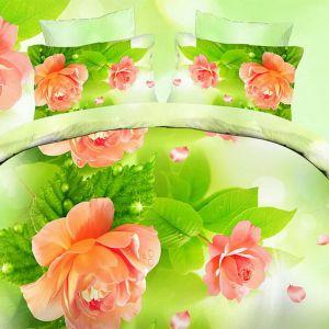 Pościel 3D - Łososiowe Róże - 160x200 cm - 3 cz - 1711-02