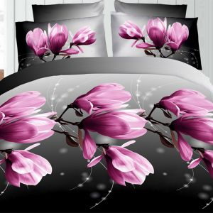 Pościel 3D - Fioletowe Magnolie - 160x200 cm - 3 cz - 1711-08