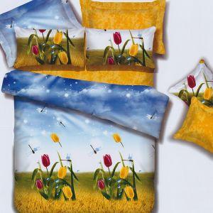 Pościel bawełniana - Tulipany na farmie - 160x200 cm - 4cz - 286-04