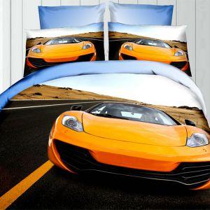 Pościel 3D - Żółte Lambo - 160x200 cm - 3 cz - 342-02