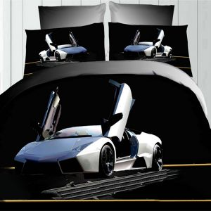 Pościel 3D - Srebrne Lamborghini - 160x200 cm - 3 cz - 342-03