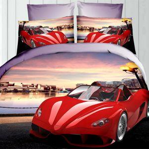 Pościel 3D - Czerwone Ferrari - 160x200 cm - 3 cz - 342-09