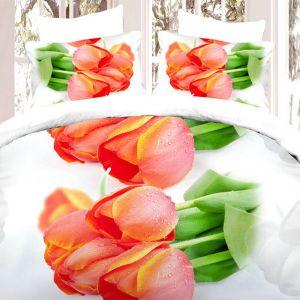 Pościel 3D - Piękne Tulipany - 160x200 cm - 3 cz - 372-03