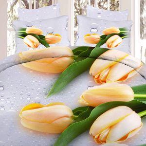 Pościel 3D - Żółte Tulipany - 160x200 cm - 3 cz - 304-07