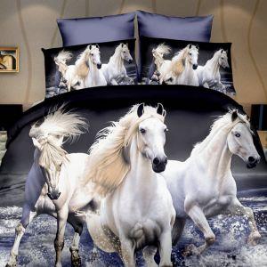 Pościel 3D - Białe Konie  - 160x200 cm - 3 cz - 270-10