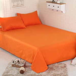 Prześcieradło bawełniane bez gumki 160x210 pomarańczowy - 160-210-15