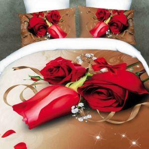 Pościel 3D - Romantyczne Róże - 160x200 cm - 4 cz - 356-02