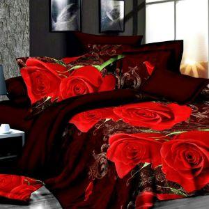 Pościel 3D - Bordowe Róże - 160x200 cm - 3 cz - 1715-08