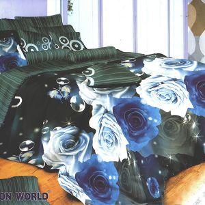 Pościel bawełniana - Niebieskie Róże - 160x200 cm - 3cz - 272-03